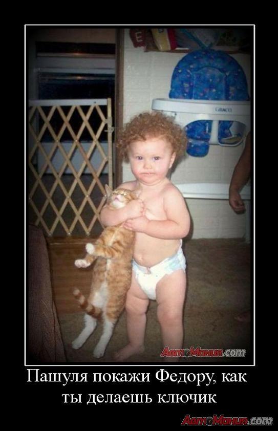 Демотиватор кошка и ребенок