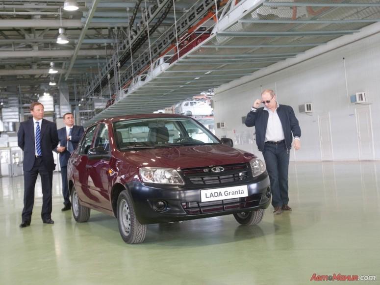 11 мая 2011 г.: Владимир Путин тестирует автомобиль Лада-Гранта