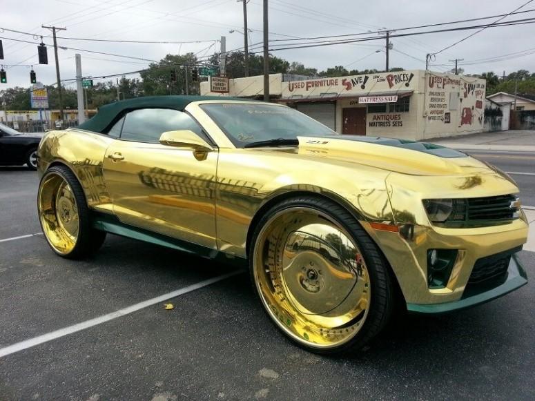 Золотое Chevrolet Camaro King ZL1 и 30-дюймовые колеса [6 видео]