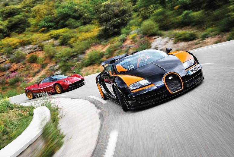 Тест-драйв от EVO: Bugatti Veyron vs Pagani Huayra [фото]